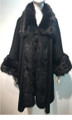 Elegant Women's - Faux Fur  Poncho Cape Black # P200-2