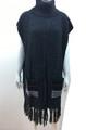 New ! Solid Color Pullover Turtleneck Short Sleeve Poncho Black # P213-2