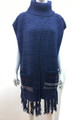 New ! Solid Color Pullover Turtleneck Short Sleeve Poncho Navy # P213-3