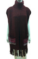 New ! Solid Color Pullover Turtleneck Short Sleeve Poncho Red # P213-4