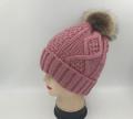 New! Knit diamond design Hats with Fur Ball Assorted Dozen # H1221