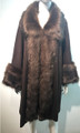 Elegant Women's - Faux Fur  Poncho Cape Brown # P200-3