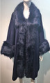 Elegant Women's - Faux Fur  Poncho Cape Navy # P200-5
