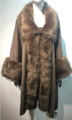 Elegant Women's - Faux Fur  Poncho Cape taupe # P200-6