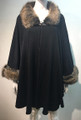 Elegant Women's - Faux Fur  Poncho Cape Black # P201-2