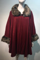 Elegant Women's - Faux Fur  Poncho Cape Burgundy # P201-5