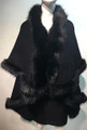 Elegant Women's - Faux Fur  Poncho Cape Black # P202-2
