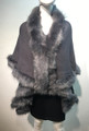 Elegant Women's - Faux Fur  Poncho Cape Gray # P202-3