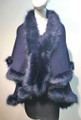 Elegant Women's - Faux Fur  Poncho Cape Navy # P202-4