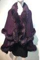Elegant Women's - Faux Fur  Poncho Cape Purple# P202-5