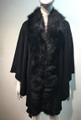 Elegant Women's - Faux Fur  Poncho Cape Black # P203-2