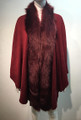 Elegant Women's - Faux Fur  Poncho Cape  Burgundy # P203-4