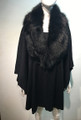 Elegant Women's - Faux Fur  Poncho Cape Black # P204-2