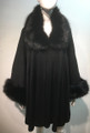 Elegant Women's - Faux Fur  Poncho Cape Black # P206-2