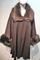 Elegant Women's - Faux Fur  Poncho Cape Coffee # P206-3