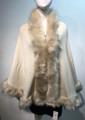 Elegant Women's - Faux Fur  Poncho Cape Beige # P207-1