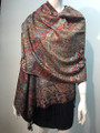 New! Pashmina  Metallic Black / Red Dozen #1120-1