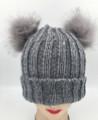 New!  Knit Beanie Hats with Faux Fur Pom Pom Ears  Assorted Dozen #H1202