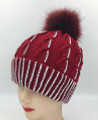 New!  Knit Cable Rhinestone Hats with Fur Ball Assorted Dozen #H1200