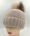 New! Unisex Beanie Hats with Faux Fur Two-tone Ball Assorted Dozen #H1144S