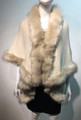 Copy of      Elegant Women's - Faux Fur  Poncho Cape Beige # P202-1