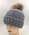 New! Unisex Beanie Hats with Faux Fur Two-tone Ball Gray #H1144S