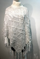 New! Two-Tone Knit Poncho white # P180-3