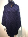 New! Solid Color Cable-Knit Button Turtleneck  Poncho Navy # P182-6