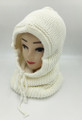 New! Soft Knit Pullover Hood Infinity Scarf White # 1568