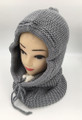 New! Soft Knit Pullover Hood Infinity Scarf Gray# 1568