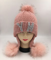 New! NY RhineStone Knit Hats with Fur Ball Assorted Dozen #H1214