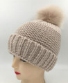 New! Unisex Beanie Hats with Faux Fur  Ball Beige #H1144