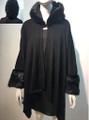 Elegant Women's - Faux Fur  Poncho Hooded Cape Black # PH215-4