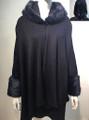 Elegant Women's - Faux Fur  Poncho Hooded Cape Navy # PH215-3