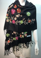 Flower Pattern Embroidered Scarf  Black #122-1
