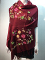 Flower Pattern Embroidered Scarf Burgundy #122-6