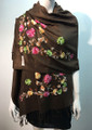 Flower Pattern Embroidered Scarf Coffee Brown #122-9