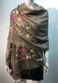 Flower Pattern Embroidered Scarf Taupe #122-10