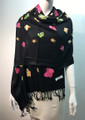 Butterfly  Embroidered Scarf  Black #131-1
