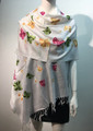 Butterfly  Embroidered Scarf White #131-2