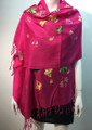 Butterfly  Embroidered Scarf Hot pink #131-4