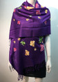 Butterfly  Embroidered Scarf Purple #131-8