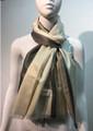 Two-Tone metallic shawl scarf  White / Gray # 133-1