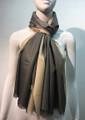 Two-Tone metallic shawl scarf  Gray / Beige # 133-2