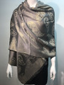 New!   Metallic Paisley Pashmina  Gray Dozen #P152-6