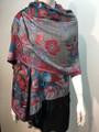 New! Pashmina  Turquoise / Red  Dozen #155-3