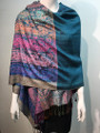 New!  Multicolor Paisley Pashmina  Turquoise Dozen #160-1