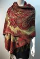 New!   Metallic Paisley Pashmina  Red Dozen # S166-4