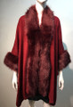 New! Elegant Women's - Faux Fur  Poncho Cape Burgundy # P218-3
