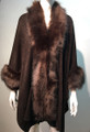 New! Elegant Women's - Faux Fur  Poncho Cape Coffee # P218-4